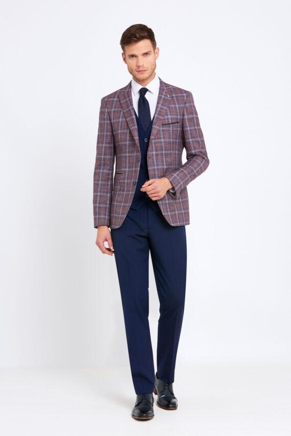 Errol Wine Check 3 Piece Suit