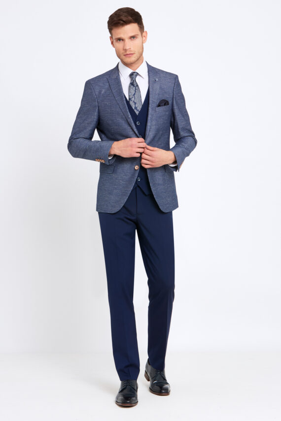 Nigel Navy Check 3 Piece Suit