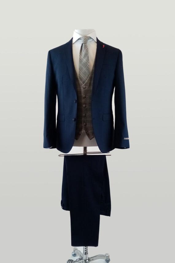 Chilli Navy Suit Lambswool Waistcoat