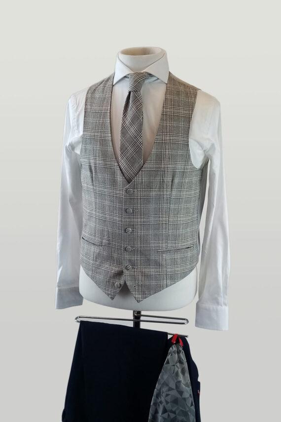 Chilli Navy Suit Lambswool Biscuit Waistcoat