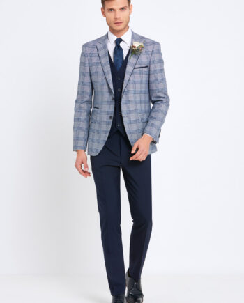 Julius Pale Blue Check 3 Piece Suit