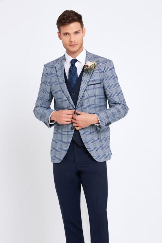 Julius Pale Blue Check 3 Piece Suit