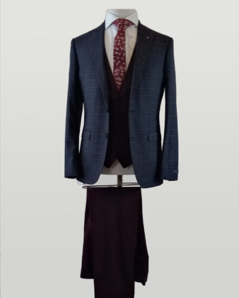 Magee Burgundy Check 3 Piece Suit