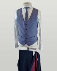 Alex Blue Check Waistcoat