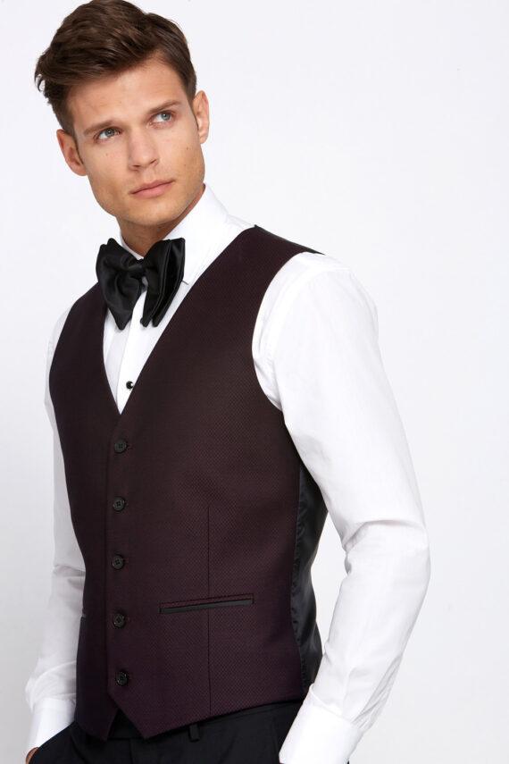Elton Tuxedo Wine Waistcoat