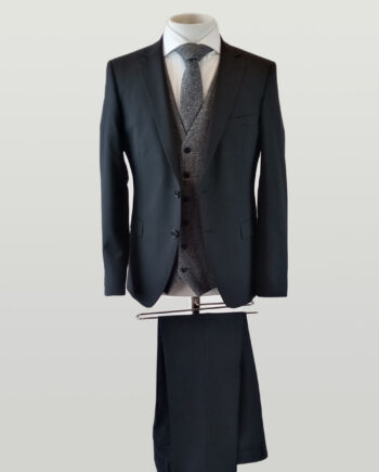 Black Suit Grey Waistcoat