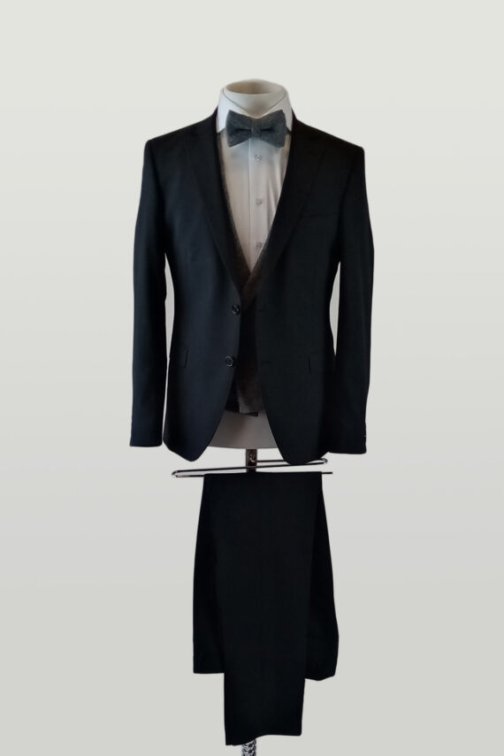 Black Suit Grey Double breasted Waistcoat