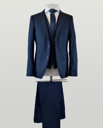 Navy Peak Suit Lambswool Waistcoat