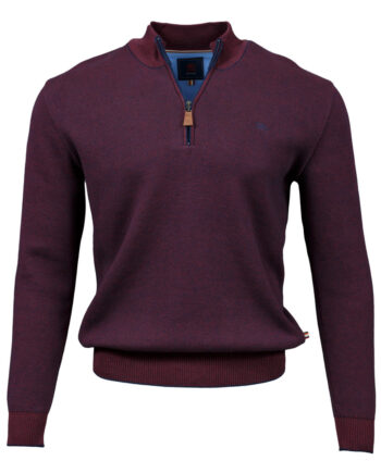 Clifden Burgundy Half-zip Jumper