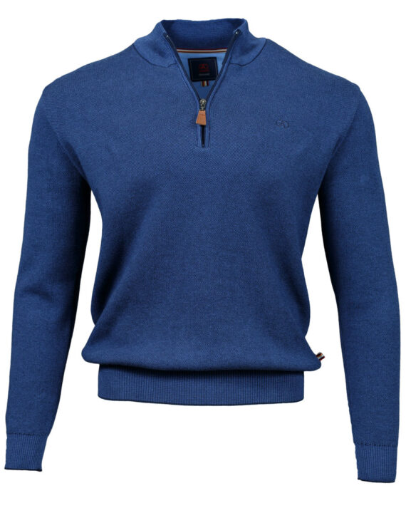 Clifden Cobalt Half-zip Jumper