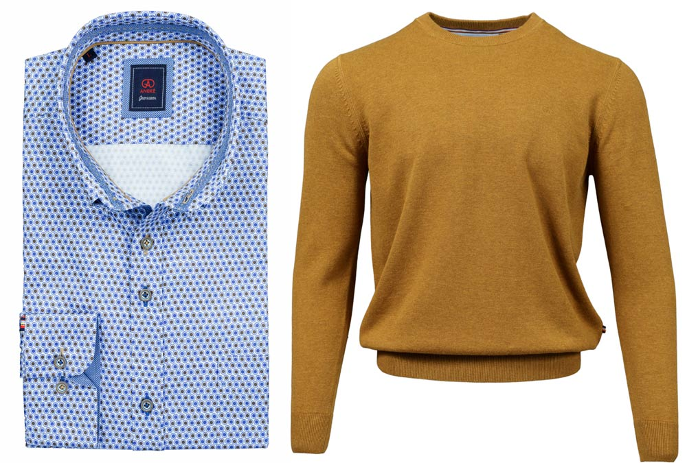 Foyle Taupe Shirt Achill Amber Crew-neck Jumper combo