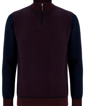 Quinn Wine Half-zip Jumper