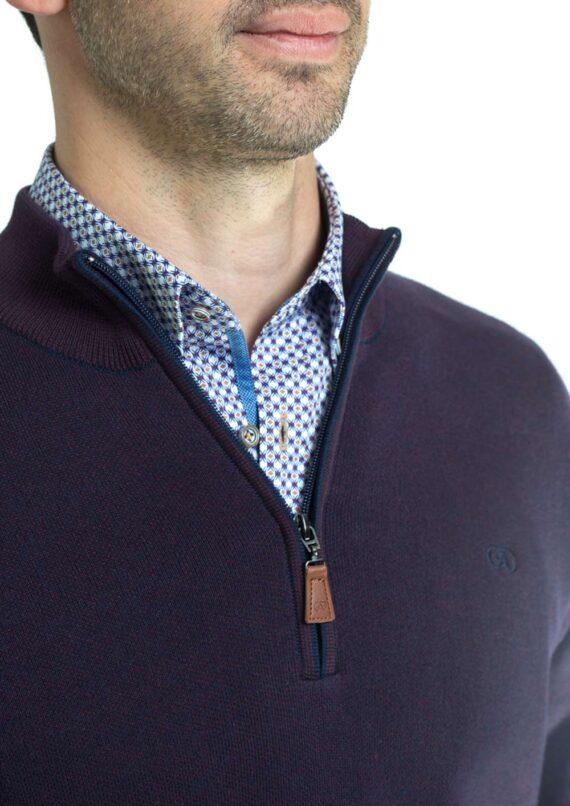 Clifden-Purple-Half-zip-Jumper