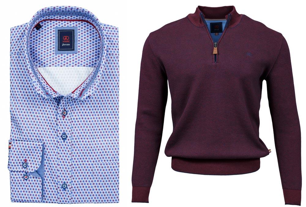 Foyle Burgundy Shirt Clifden Burgundy Half-zip Jumper combo