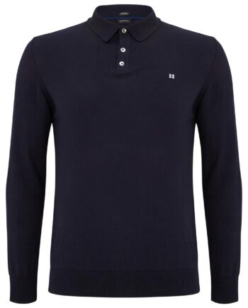 Geron Navy Buttoned Sweater