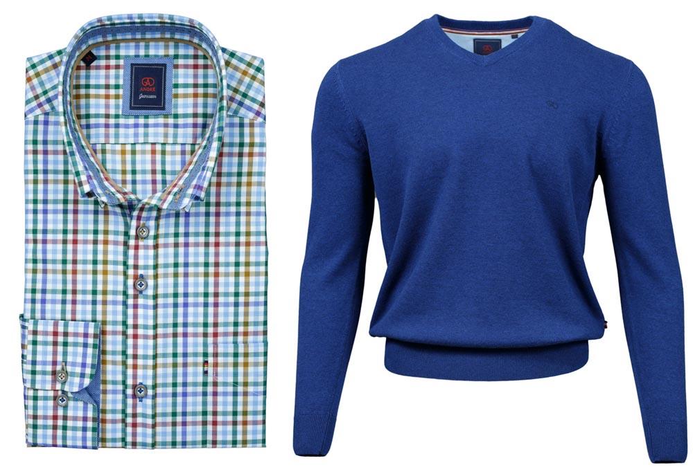 Hoey Taupe Shirt Valencia Cobalt V-neck Jumper combo