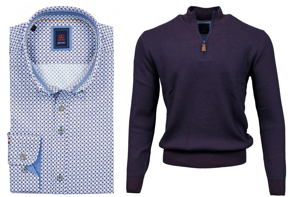 Slaney Taupe Shirt Clifden Purple Half-zip Jumper combo