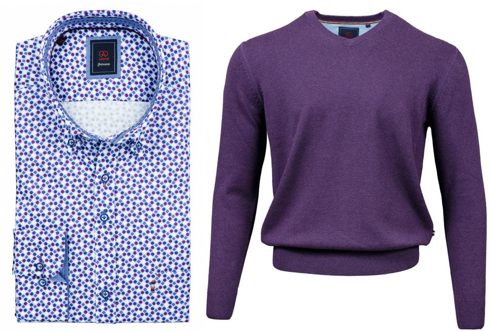Thomas Purple Shirt Valencia Purple V-Neck Jumper combo