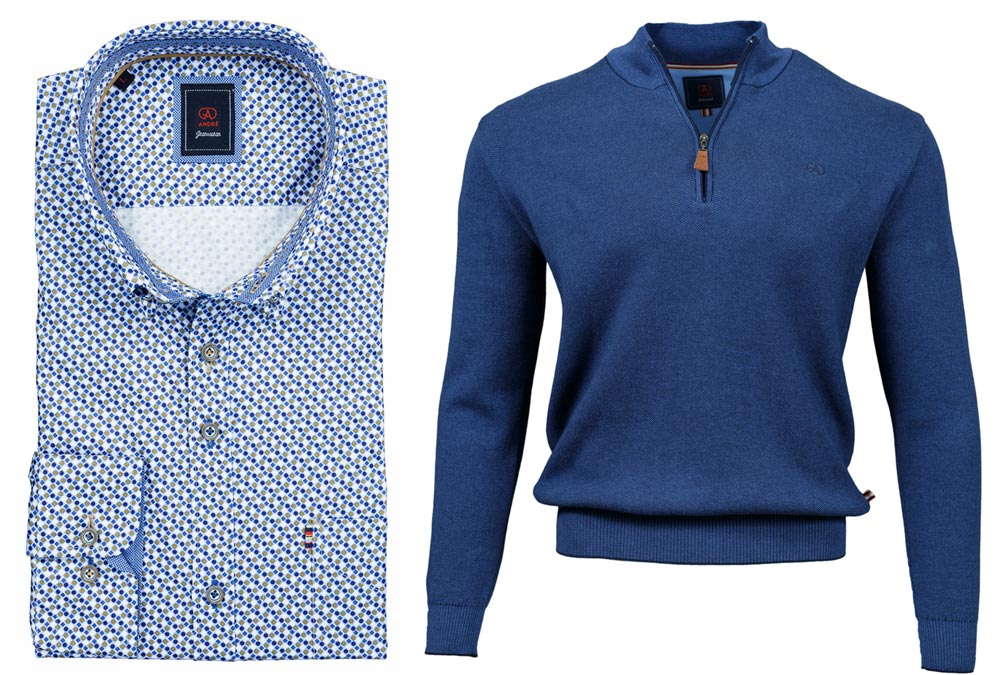 Thomas Taupe Shirt Clifden Cobalt Half-zip Jumper combo