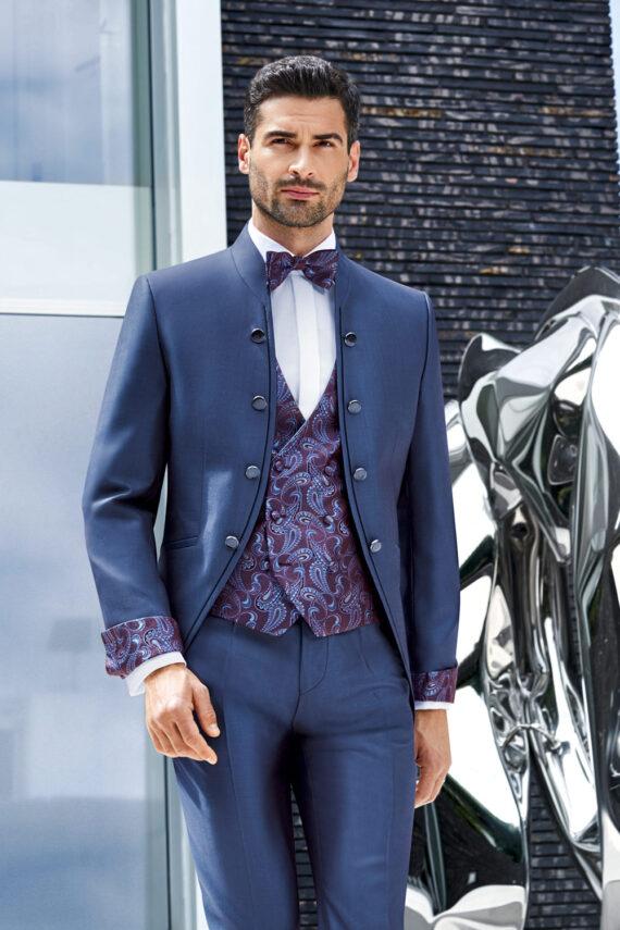 Blue 8 Button 3 piece Wedding Suit