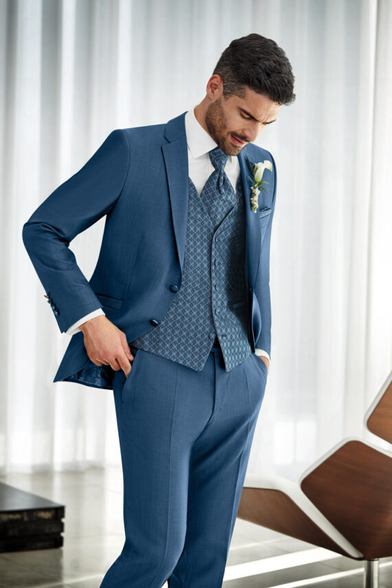 Bright Blue 3 piece Wedding Suit
