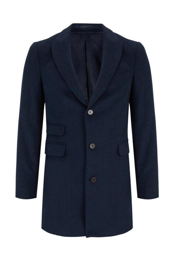 Charles Navy Wool Coat