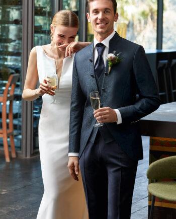 Dark Blue Jacquard 3 Piece Wedding Suit