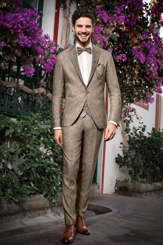 Gold Bohemian 3 piece Wedding Suit