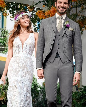 Grey Bohemian 3 piece Wedding Suit