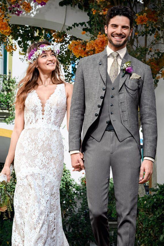 Grey Bohemian 3 piece Wedding Suit