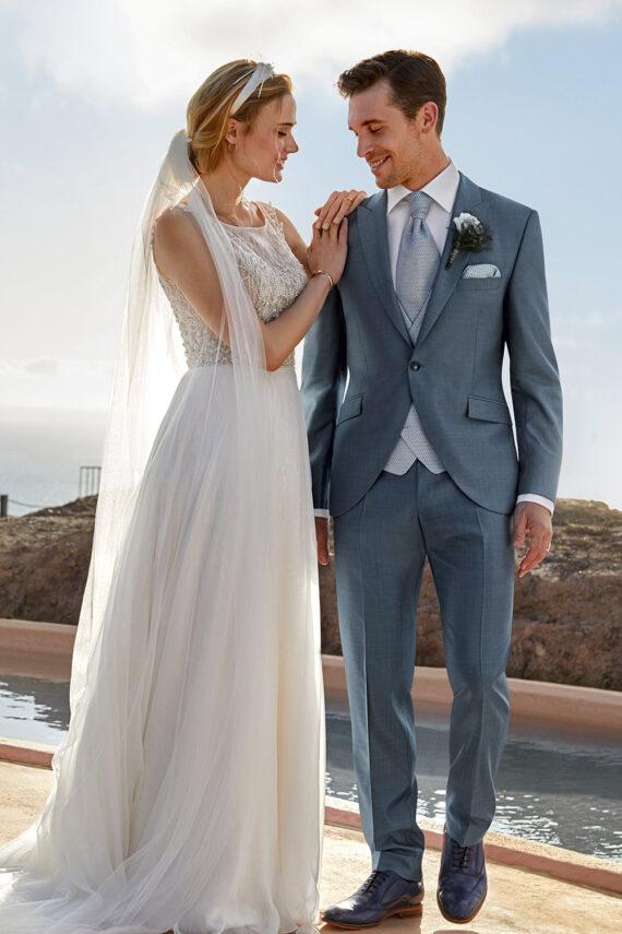 Light Blue 3 Piece Wedding Suit
