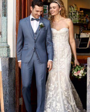 Mid-blue 3 Piece Wedding Suit