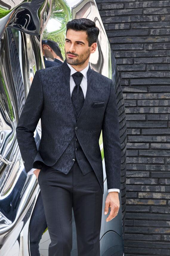 Noble Blue Jacquard 3 piece Wedding Suit