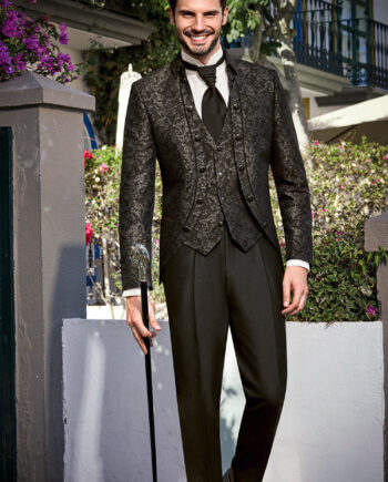 Royal Black Jacquard 3 Piece Wedding Suit