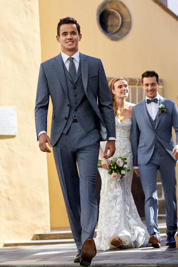 Steel Blue 3 piece wedding suit 4312