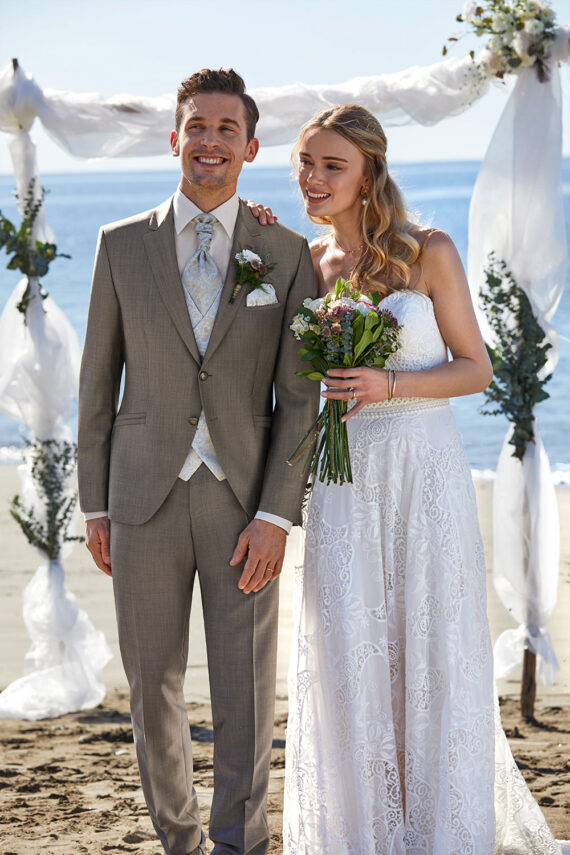 Taupe 3 Piece Wedding Suit