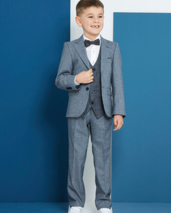 Pascal Smoke Blue 3 Piece Boys Suit