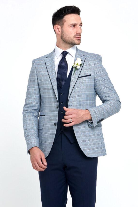 Raymond Check Navy 3 Piece Wedding Suit