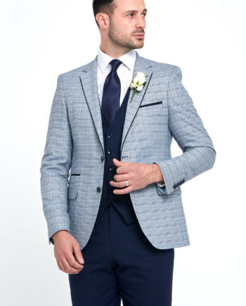 Raymond Check Navy 3 Piece Wedding Suit