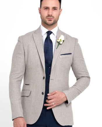 Simon Beige Jacket Navy Wedding Suit