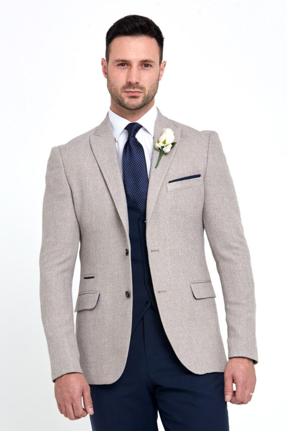 Simon Beige Jacket Navy Wedding Suit
