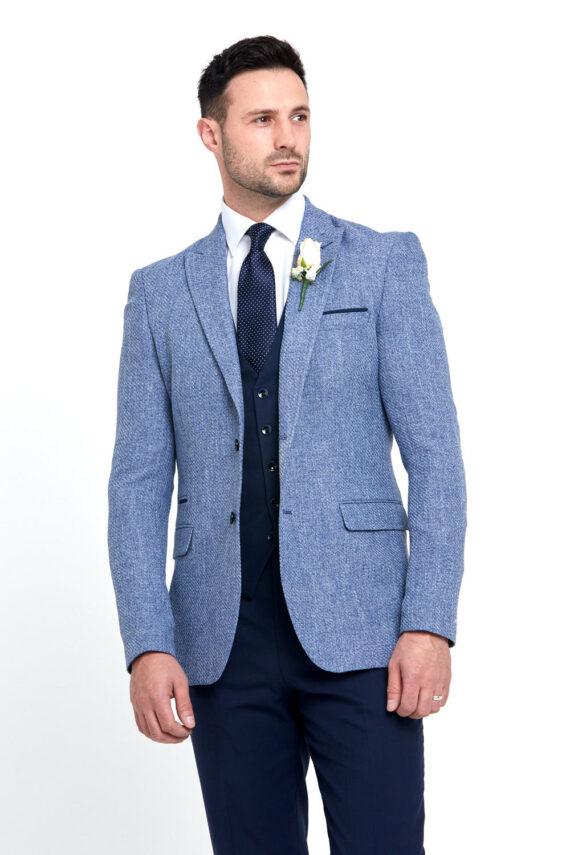 Simon Blue 3 Piece Wedding Suit