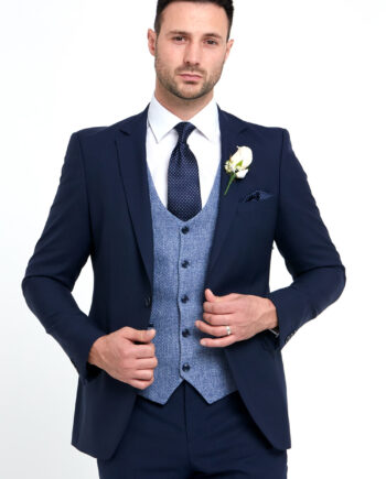 Simon Navy 3 Piece Wedding Suit