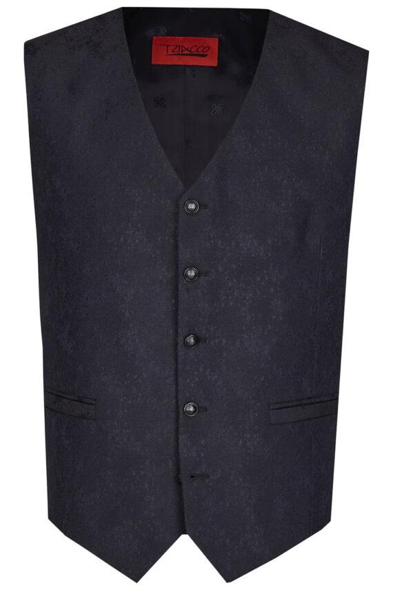 Royal Black Floral Waistcoat