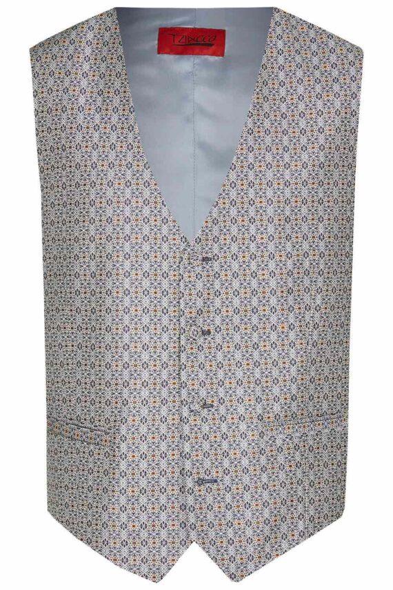 Royal Steel Blue pattern Waistcoat